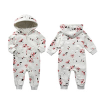 2018 Baby Girls spring Plush Kids Jumpsuits Winter Clothes Long Sleeve   Rompers   Cotton Clothes With Hat 6m To 24m Baby clothing
