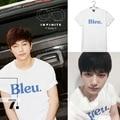 Kpop Infinite официальный BLEU короткие хлопка с коротким рукавом рубашки k-pop бесконечное лето Топы майка рукав рубашки одежда Футболка