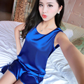 Spring Summer Silk Women's Sleepwear Spaghetti Strap Satin Vest Shorts Female Sexy Lace Plus Size Twinset Lounge Sleepshirtrs