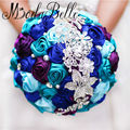 New Arrival 2017 Colorful Royal Blue Purple Wedding Bouquet Cetim Diamond Flower Brooch Bridal Crystal Bouquet Modabelle