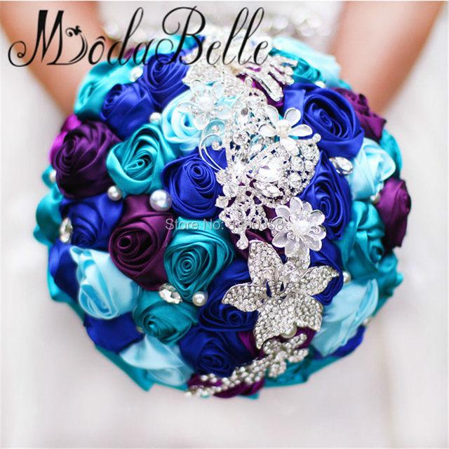 New Arrival 2017 Colorful Royal Blue Purple Wedding Bouquet Cetim Diamond Flower Brooch Bridal Crystal Bouquet Modabelle