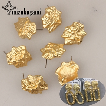21*18mm 6pcs/lot Zinc Alloy Big Geometric 3D Earrings Base Earring Connector For DIY Exaggerated Earrings Accessories недорого