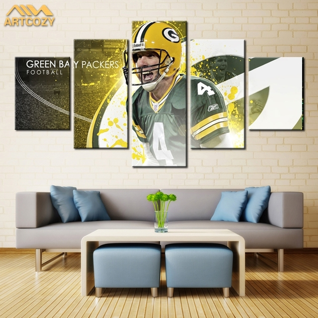 Delightful Artcozy 5 Panel Canvas Painting Spray Printings USA Green Bay Packers  Football Wall Pictures Home Decoration
