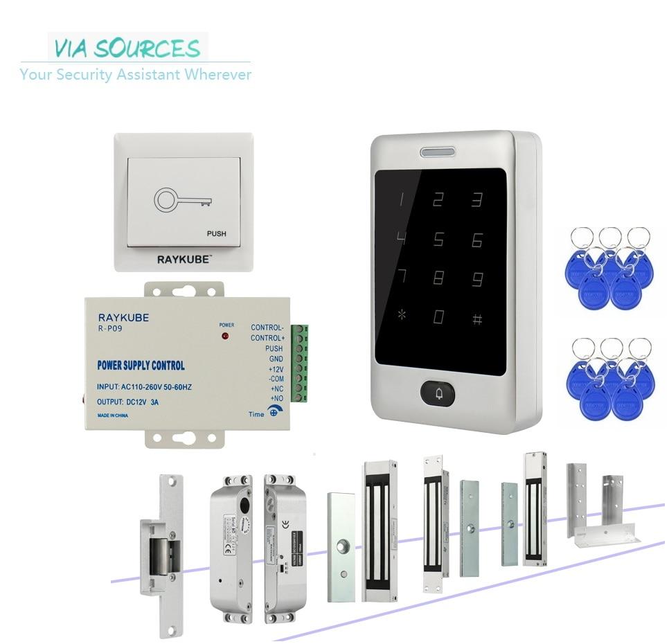 купить Direct Factory Door Access Control Kit System RFID Keys Electronic locks Kit Set Full Option With Metal Touch Keypad Security по цене 3168.68 рублей