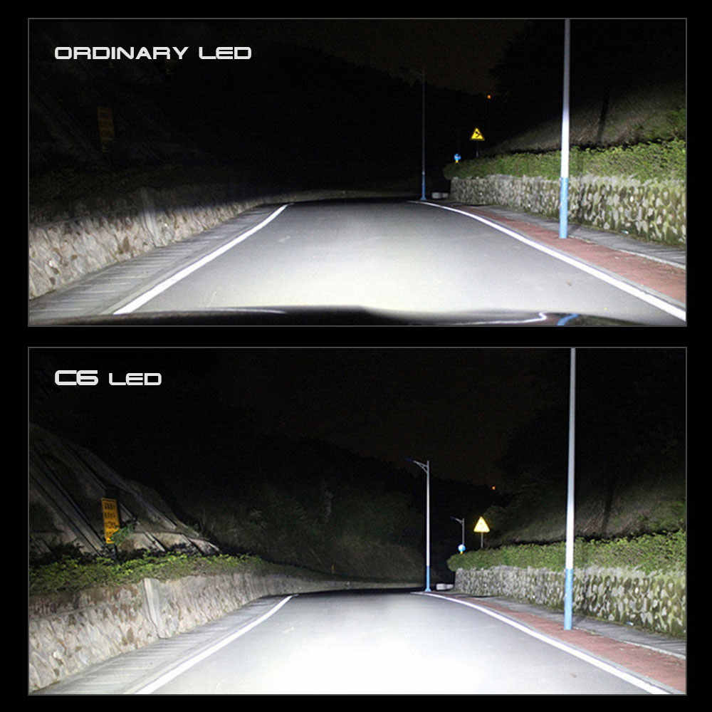 C6 Pro Enhanced 2Pc Car Lights Bulbs LED H4 H7 9003 HB2 H11 LED H1 H3 H8 H9 880 9005 9006 H13 9004 9007 Auto Headlights Led Lamp