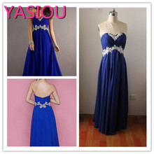 HOT new 2017 Hot Selling Beautiful Lace Royal blue Appliques Wine Red Prom Party Gowns  Prom Dresses Bridesmaid Dresses