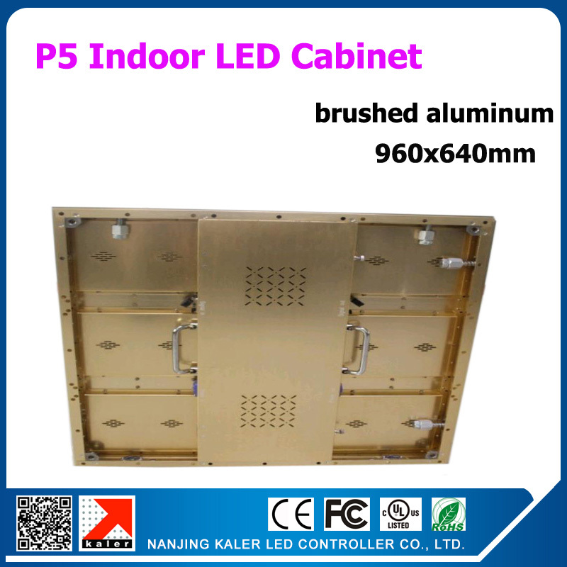 TEEHO 960*640mm rental led cabinet P5 indoor brushed aluminum rental led display board for business meeting, show, wedding