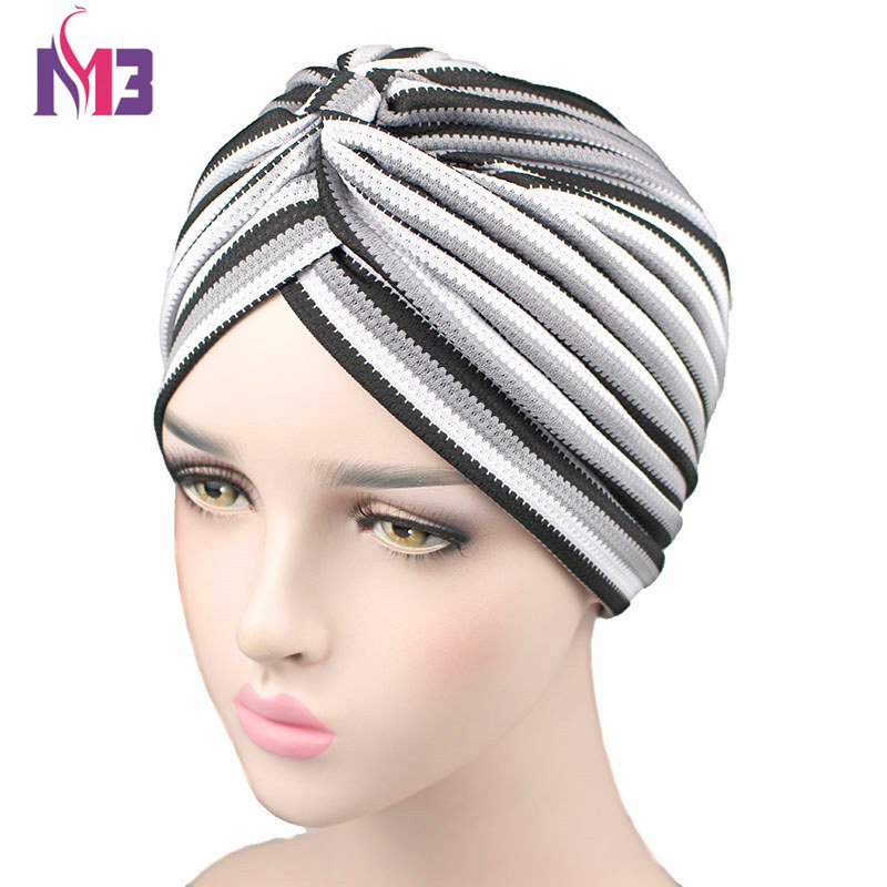 New Fashion Women Knitted Striped Turban High Quality Breathable Turban Hat Headband   Headwear   For Chemo Hijab Hair Accessories