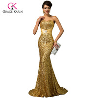 Evening Dress Grace Karin Luxury Sequins Red Black Women Long Formal Gowns Special Occasion Gold Mermaid