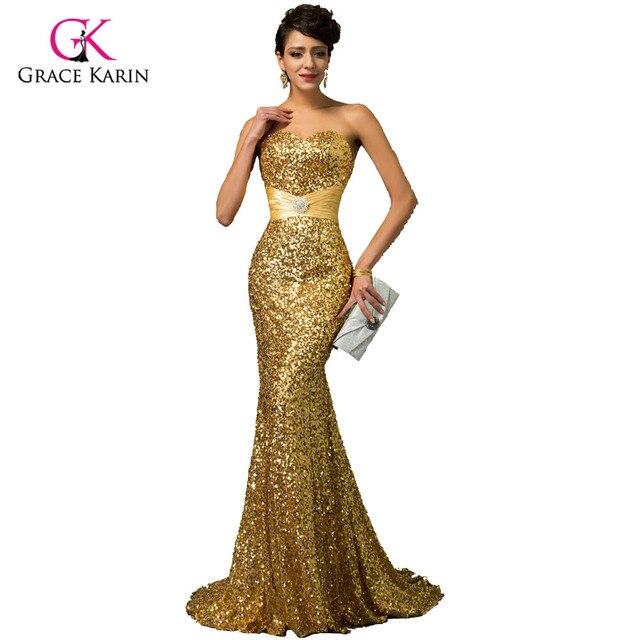Gnade Karin Gold Meerjungfrau Abendkleid 2018 Luxus Rot Blau Silber ...