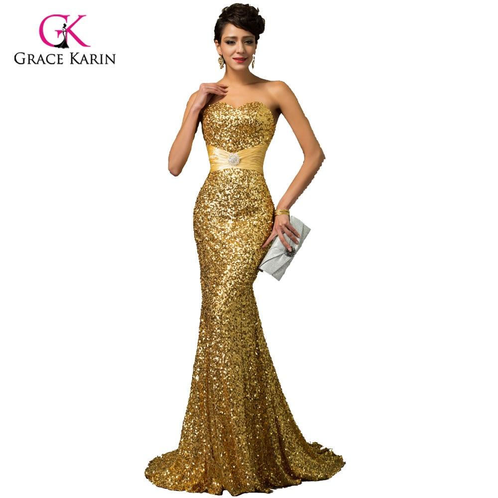 Aliexpress.com : Buy Grace Karin Gold Mermaid Evening Dress 2017 ...