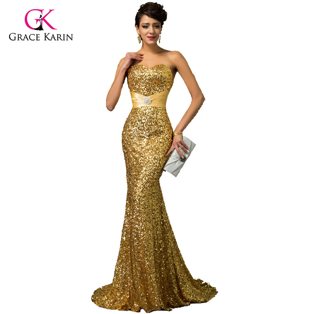 ③Grace Karin Gold Mermaid Evening Dress 2018 Luxury Red Blue Silver ...
