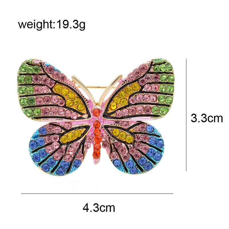 Cindy Xiang Warna Berlian Imitasi Kupu-kupu Bros untuk Wanita Fashion Serangga Indah Bros Pin Syal Gesper Baik Hadiah Baru