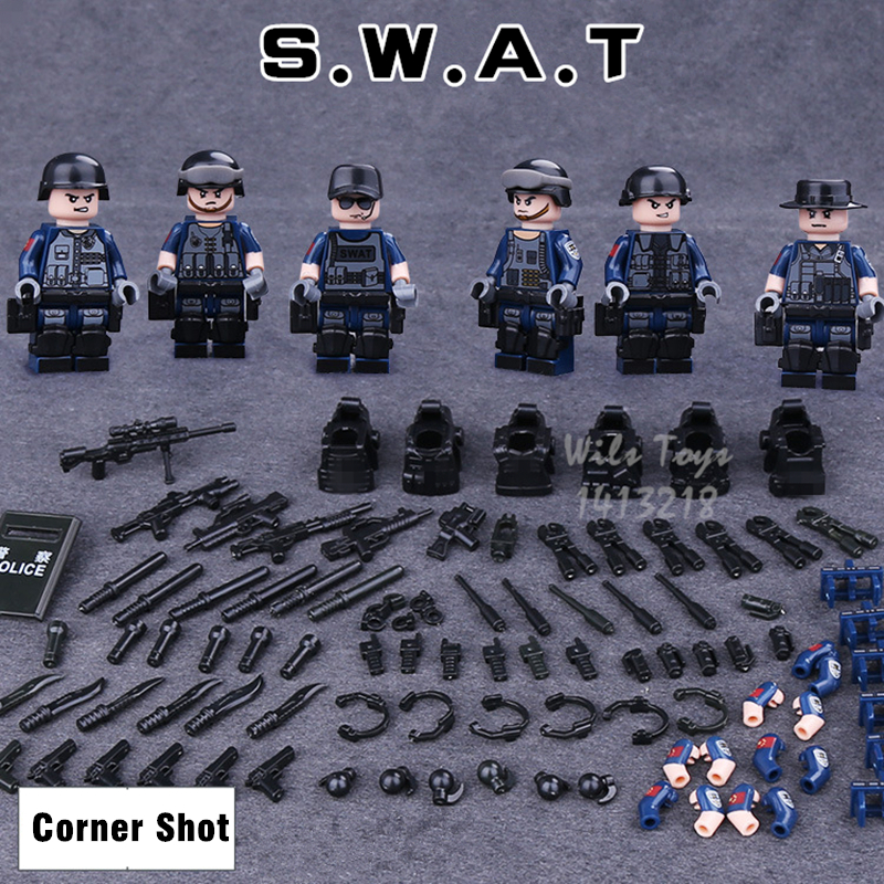 6pcs SWAT MILITARY Navy Seals Team WW2 Corner Shot Weapon Soldiers Army Mini Building Blocks Bricks Figures Toys Boys Children swat team commando trucks military
