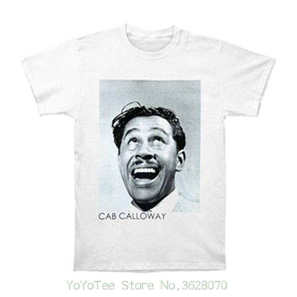 Tshirt Men Black Short Sleeve Cotton Hip Hop T-shirt Print Tee Shirts Cab Calloway Men&#039 ; S T-shirt Medium White