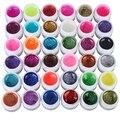 ¡ Caliente! 36 Colores Mezclados Glitter UV Gel Polaco Empapa de la Capa Superior para el Arte Del Clavo Extremidades Falsas