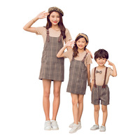 Matching Family Outfits Casual Short sleeved T shirt Plaid Strap Dress Mommy and Daughter Matching Clothes Boys Jumpsuit Shorts