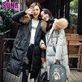 2016 mujeres del invierno de lujo real collar grande de la piel del espesamiento ocasional medio-largo abajo cubren a la hembra con capucha pato abajo chaqueta de las mujeres