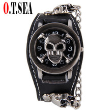 Hot Sales O.T.SEA Brand Smile Skull Leather Watches Men Luxu