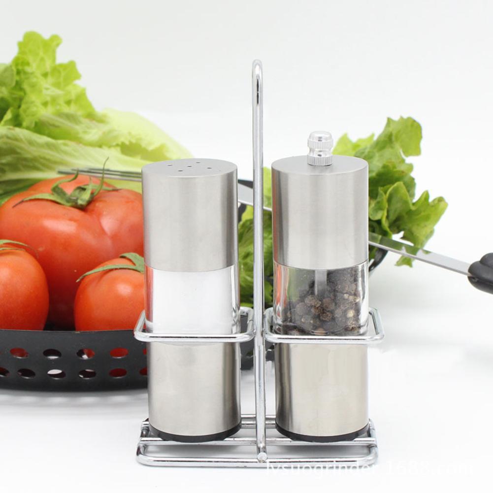 3Pcs Home Kitchen Manual Seasoning Pepper Shaker Grinder Salt Pot Jar Stand Set Accessary