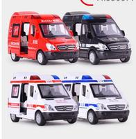 1:32alloy Hospital Rescue Ambulance Police Metal Cars Model Pull Back Sound and Light Alloy Diecast car toys for children