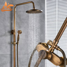 Suguword Antique Brass Shower Combo Set 8 inch brass Shower Head and Hand Shower Hot and Cold Switch Rotation Europen Style(China)