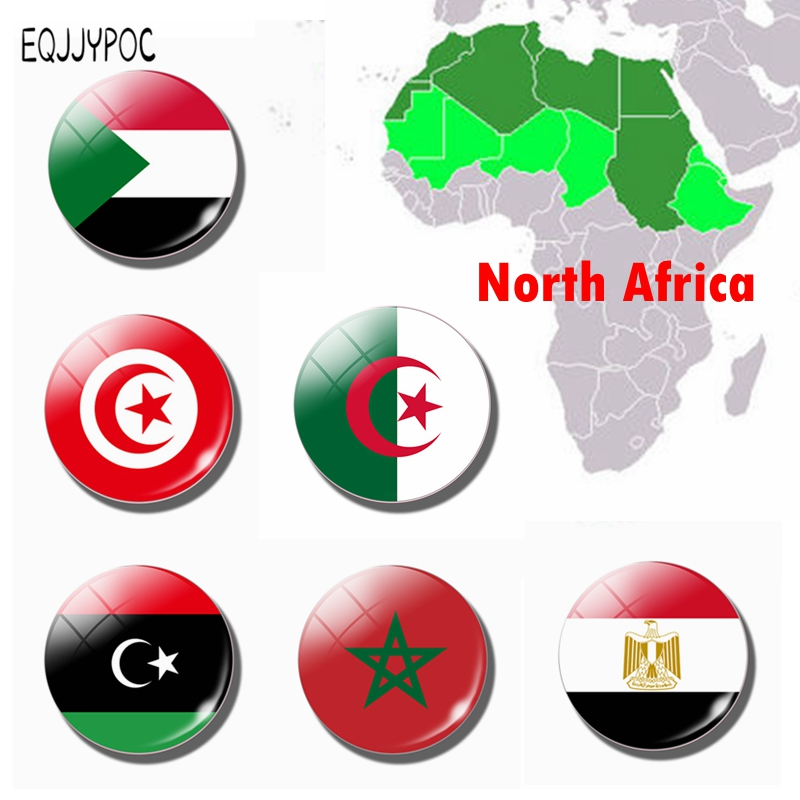 People's <font><b>Democratic</b></font> Republic of Algeria Flag 30MM Fridge Magnet Glass North African countries Refrigerator Magnetic <font><b>Stickers</b></font> image