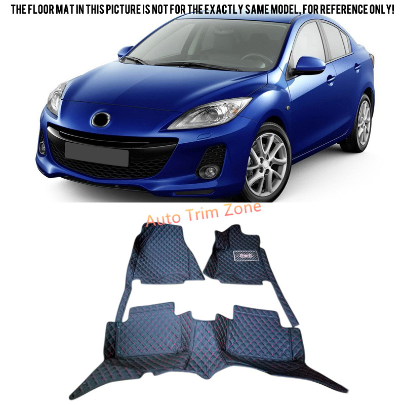 Black Interior Leather Floor Mats & Carpets Foot Pads For Mazda 3 For Mazda3 Axela 2009-2012