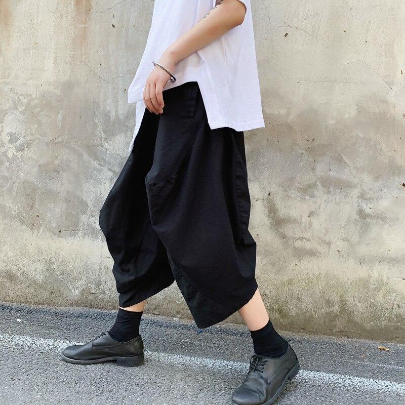 Men Cotton Linen Harem Pants Male Japan Style Streetwear Hip Hop Punk Gothic Loose Casual Wide Leg Pants Black Kimono Trousers(China)