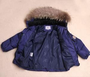 Image 5 - ボーイズ冬防寒着毛皮冬の女の子スーツアヒルダウン子供の男の子の服セット暖かい幼児ダウンパーカージャケットコート雪着用