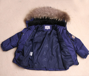 Image 5 - Boys Winter Snowsuit Fur Winter Girl Suit Duck Down Children Boys Clothing Sets Warm Toddler Down Parka Jacket Coat Snow Wear