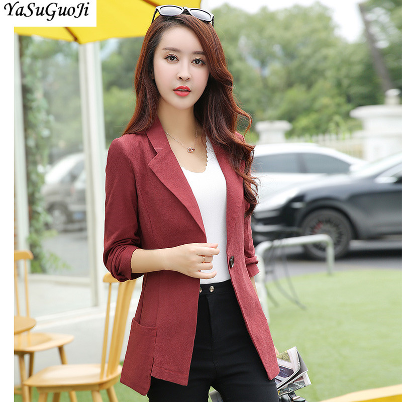 New 2018 office lady style fashion solid color single breasted slim fit cotton and linen blazer women womens clothing XF7