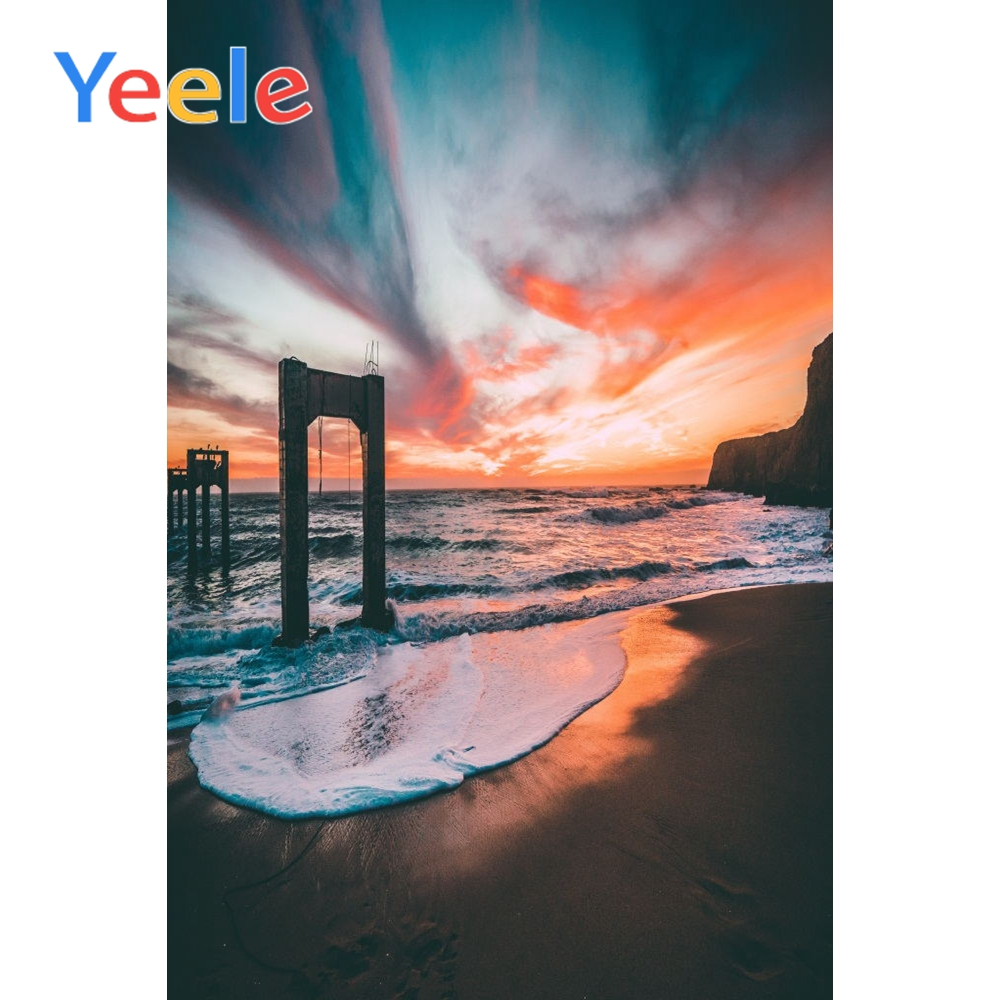 Yeele Waves View Seaside Sunset Vacation Wedding Portrait Photography Backdrops Beach Photographic Backgrounds For Photo Studio