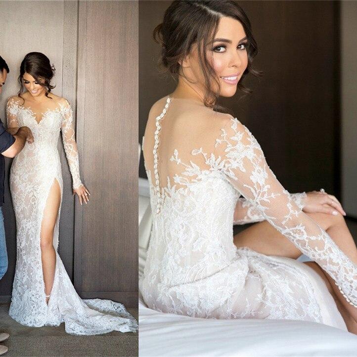 Vintage Long Sleeve Lace Wedding Dresses 2019 Vestidos De
