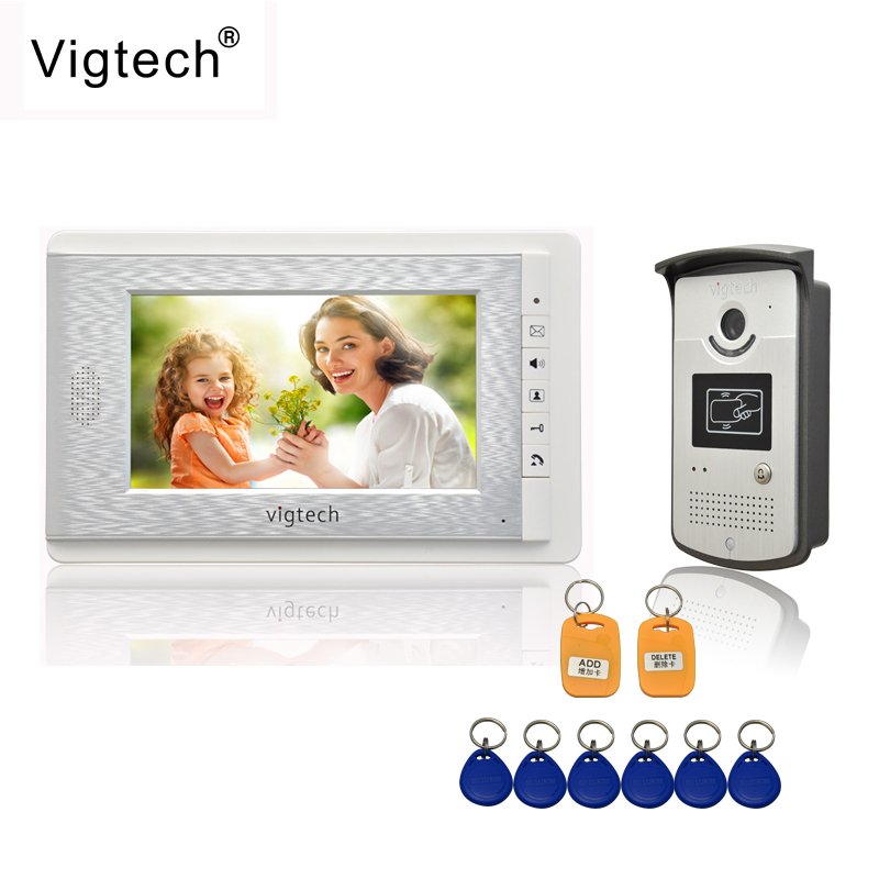 Vigtech Home 7 LCD monitor Speakerphone intercom Color Video Door Phone doorbell access Control System doorphone free shipping