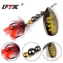 Купить с кэшбэком FTK 1Pcs Fishing Lure Mepps Spinner Bait 8 colors 12g 18g  Wobblers  Spoon Lures Metal Bass Hard Bait With Feather Treble Hooks