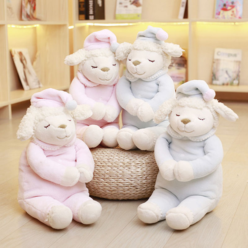 Baby Appease Soft Sleeping Sheep Plush Toy Stuffed Animals Sheep Doll Children's Day Present Birthday Christmas Gift For Kids welcome customer apron sheep alpaca maid servant plush toy stuffed doll gift for baby kids children girlfriend baby present