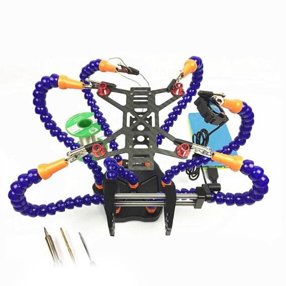 LeadingStar Hand Soldering Tool 6 Flexible Arms Six Arm Soldering Station with Swiveling Alligator for RC Drone quadcopter D35 micro 100 rc 281100 right hand cut off brazed screw machine tool style rc tool dimension of 6 length 9 32 width 9 32 height tip dimension of 0 100 width