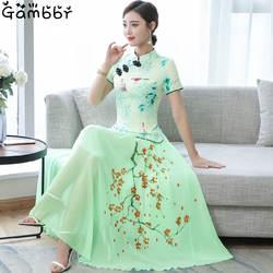 2019 двухсекционное китайское платье Чонсам элегантное винтажное платье с цветочным принтом современный Чонсам женское Повседневное