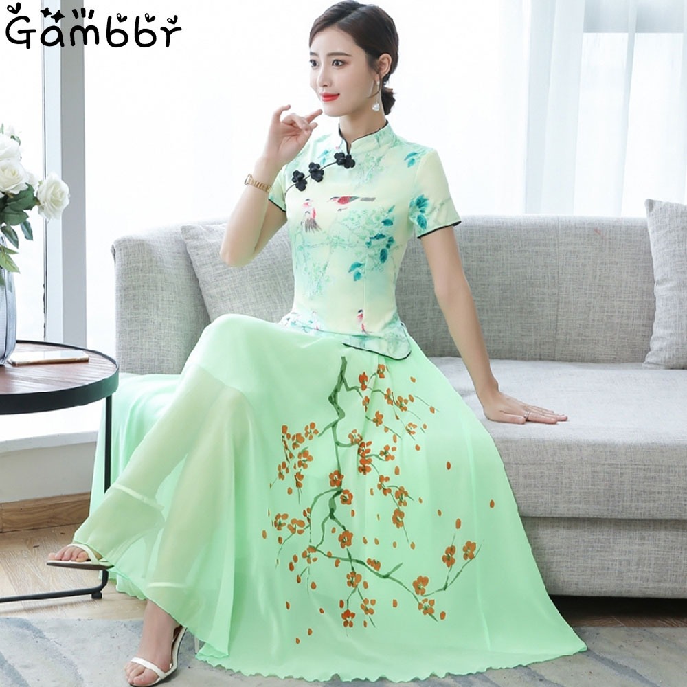 2019 Two Piece Cheongsam Chinese Dress Elegant Vintage Floral Print Modern Cheongsam Women Daily Qipao Dress Traditional Clothes