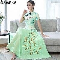 2019 Two Piece Cheongsam Chinese Dress Elegant Vintage Floral Print Modern Cheongsam Women Daily Qipao Dress Traditional Clothes