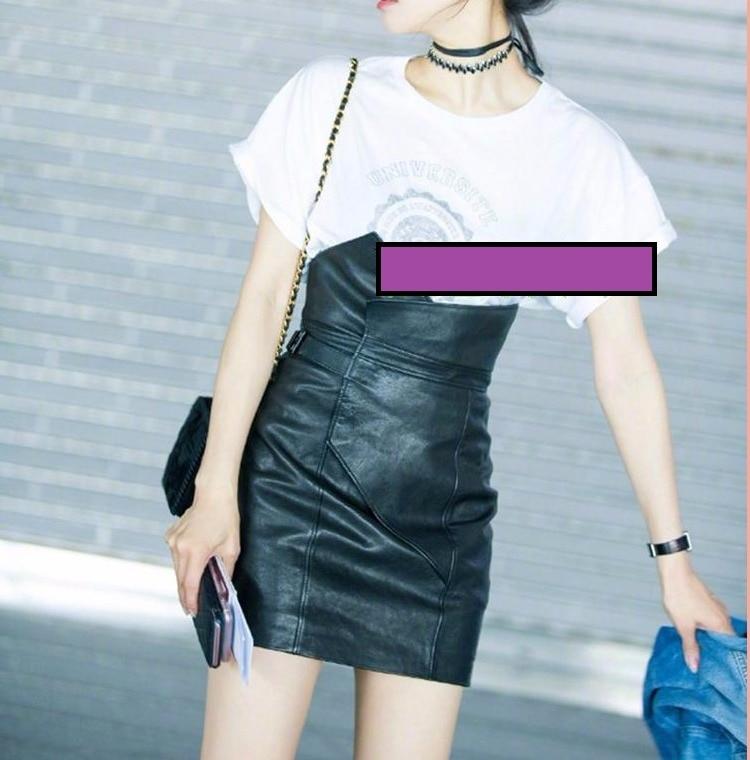 Zalea Cortas Libre Envío Ventas Faldas Genuino Cuero Estilo Mujeres Sexy Mujer Moda Negro Calidad 0n16p