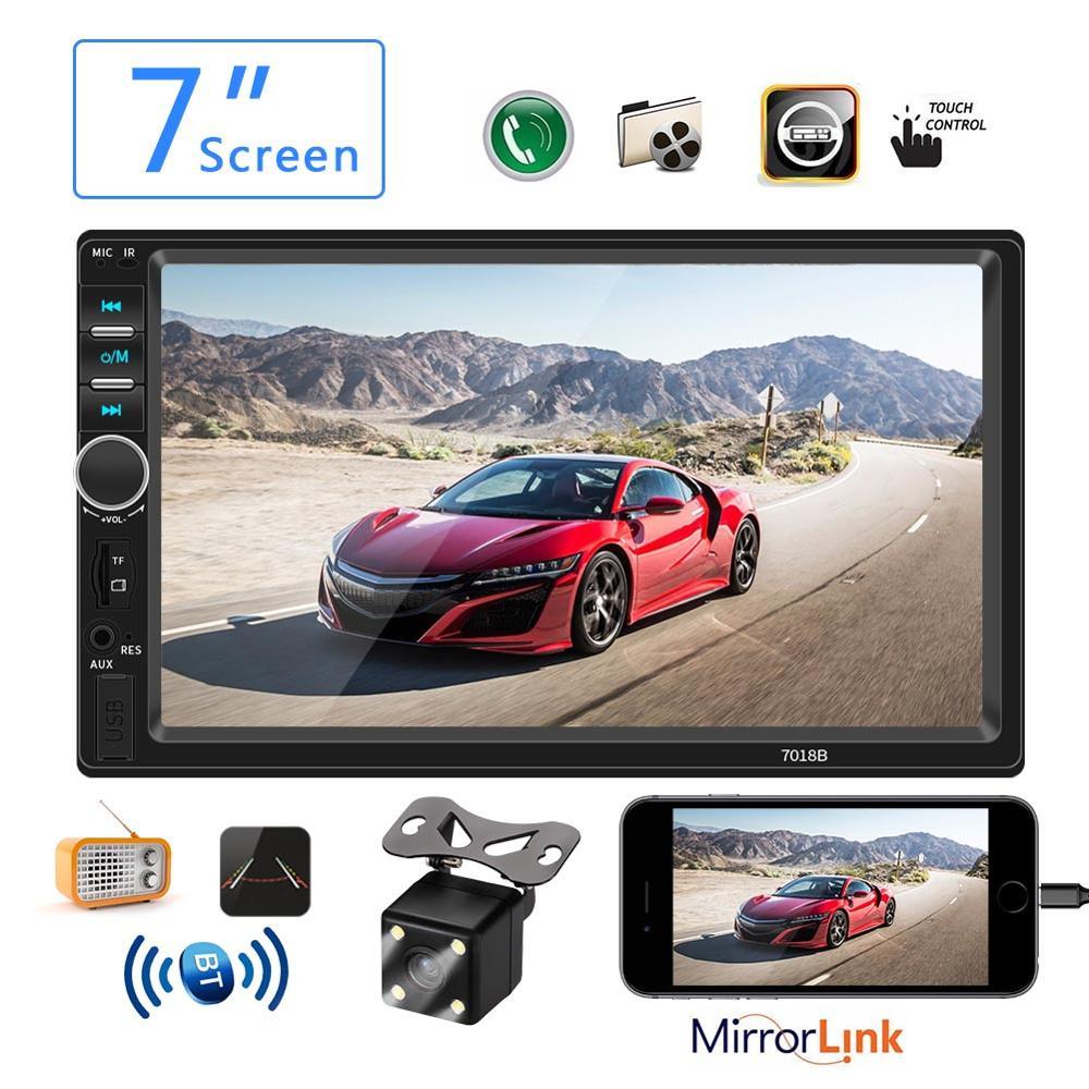 Voiture Radio 2 Din Mp5 Lecteur Bluetooth Mains Libres Écran Tactile Auto Radio Image Inversée Soutenir caméra de Vue Arrière Caméra Mirrorlink 7018b