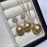 Бесплатная доставка ювелирные изделия огромный 10 11 мм Южное море круглый золотой жемчужное ожерелье 14