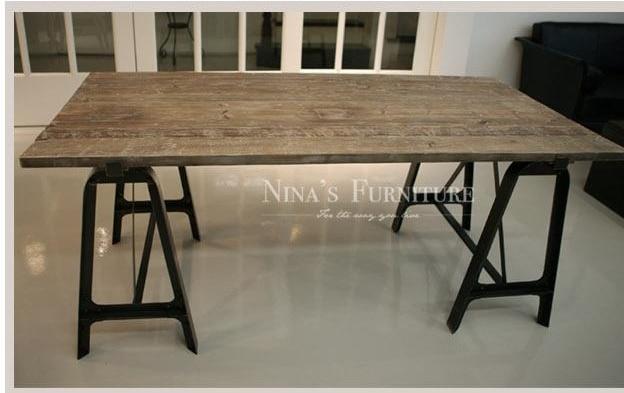 Exceptionnel Rétro américaine à faire le vieux meubles anciens orme table à  XN73