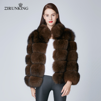 ZIRUNKING Long Women Warm Real Fur Coats Lady Natural Fox Fur Jackets for Cold Winter Female Thick Fur Outerwear Clothes ZC1862