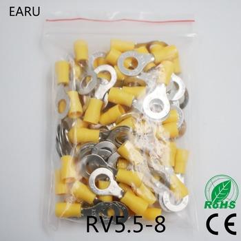 RV5 5-8 żółty pierścień izolowane terminalu garnitur 4-6mm2 kabel drutu przewód łączący Crimp terminal 50 sztuk paczka RV5-8 RV tanie i dobre opinie EARUELETRIC Pack 0 09kg (0 20lb ) 10cm x 10cm x 5cm (3 94in x 3 94in x 1 97in)