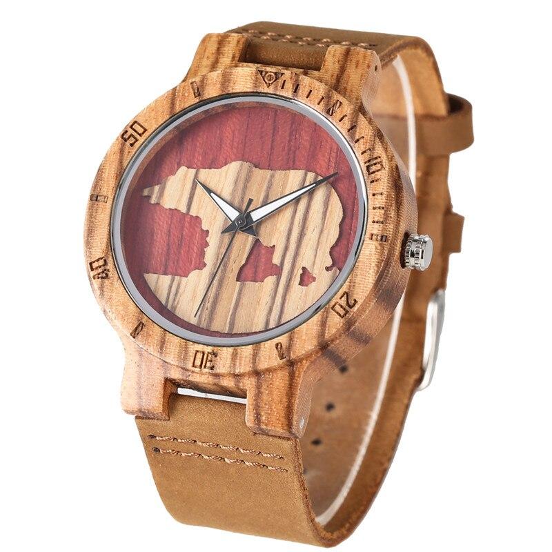 Unique Classic Quartz Watch Movement For Women Men Practical Luminous Function Wooden Watches Polar Bear Pattern Wood Wristwatch