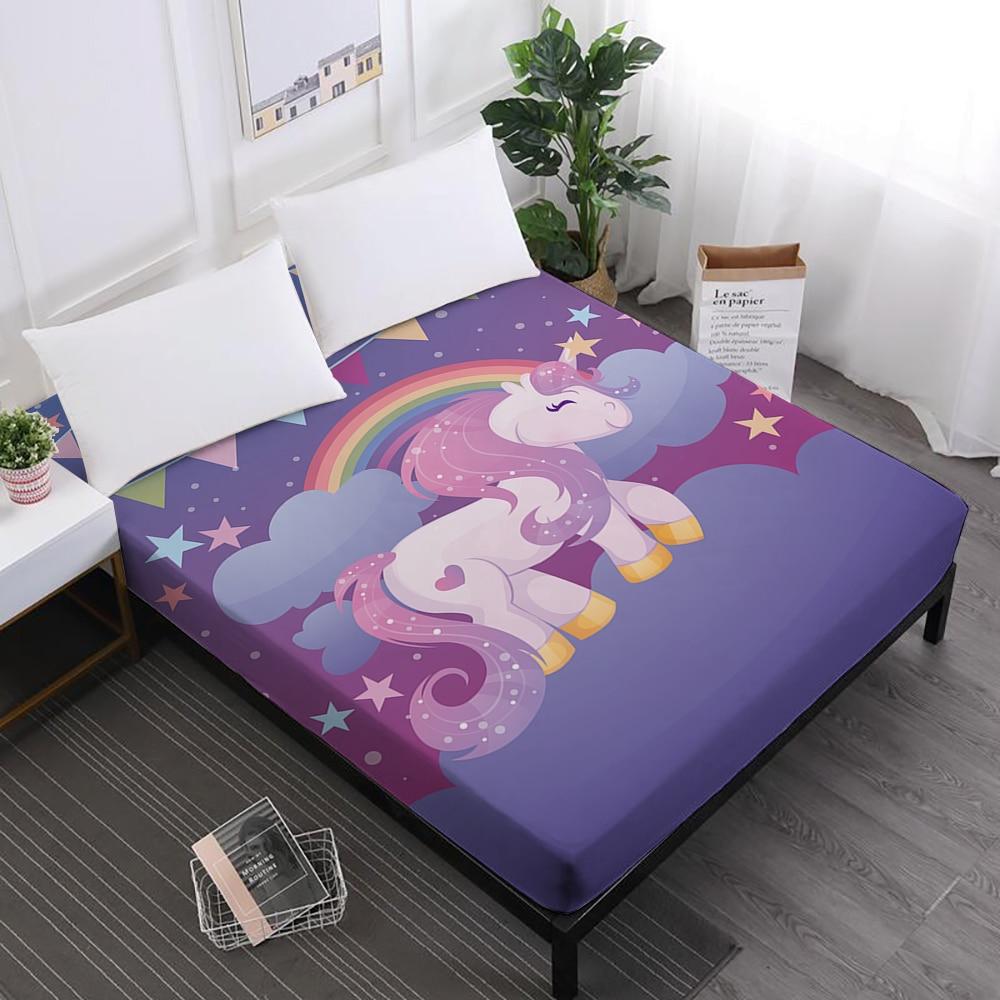Cartoon Unicorn Print Bed Sheet Girls Sweet Fitted Sheets Twin Full King Queen Elastic Band Mattress