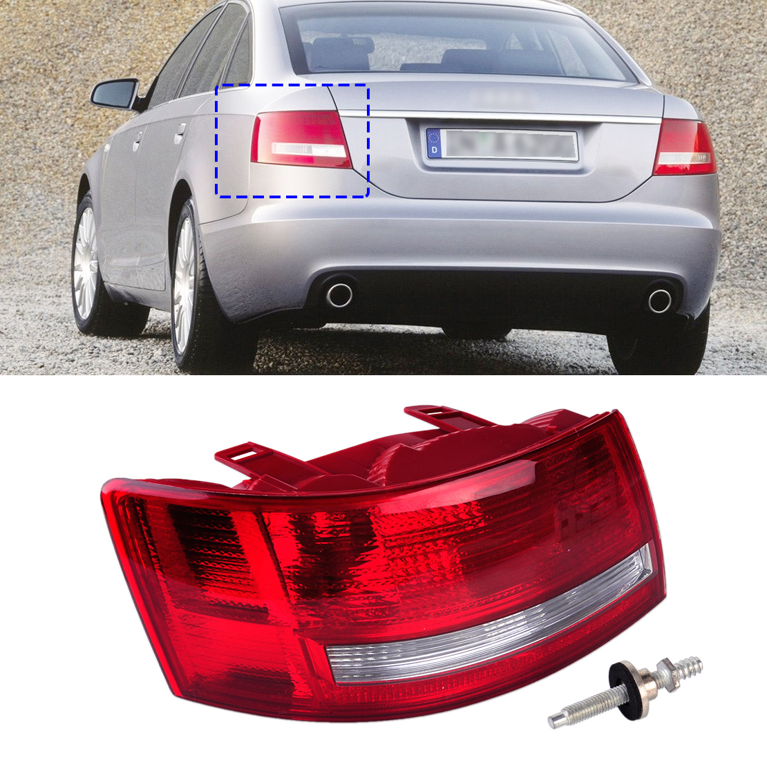 Rear Tail Left Light Taillight Assembly Lamp Housing without Bulb 4F5 945 095 L fit for Audi A6 /A6 Quattro Sedan 2005 2006 -08 free shipping for skoda octavia sedan a5 2005 2006 2007 2008 left side rear lamp tail light